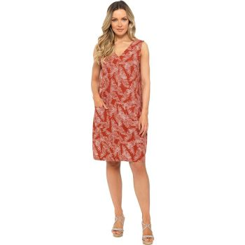 *LN1207, Ladies Feather Print V Neck Dress With Patch Pockets £8.35.   pk20....