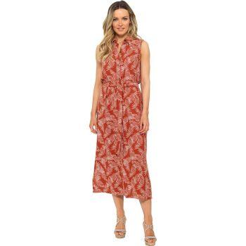 *LN1209, Ladies Feather Print Linen Button Through Midi Shirt Dress £9.75.  pk20....