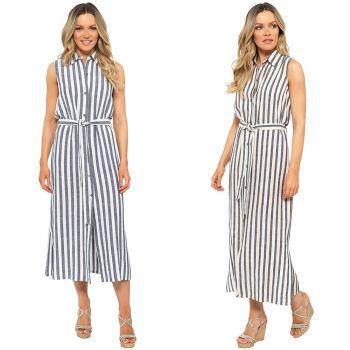 *LN1211, Ladies Striped Linen Button Through Midi Shirt Dress £10.25.    pk20...