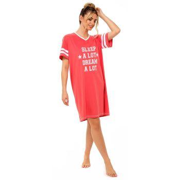 "*LN1330, Ladies Jersey ""Sleep A Lot"" Varsity Nightie £4.55.   pk6..."