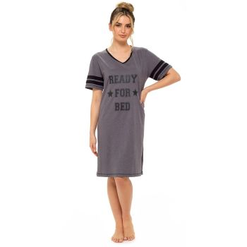 "*LN1329, Ladies Jersey Marl ""Ready For Bed"" Varsity Nightie £4.55.  pk6.."