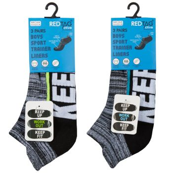 42B719, Boys 3 in a Pack Design Trainer Liner Socks £1.45.  24pks...