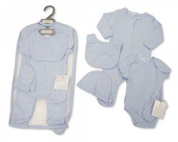 GP1048, Baby 5 Pieces Gift Set - Plain Sky (Sleepsuit, Short Sleeved Bodyvest, Bib, Hat, Mittens) £6.25.  PK6..
