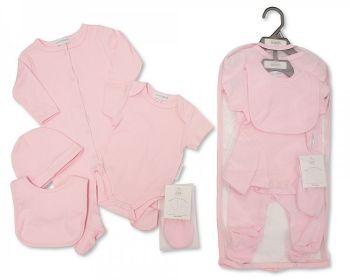 GP1047, Baby 5 Pieces Gift Set - Plain Pink (Sleepsuit, Short Sleeved Bodyvest, Bib, Hat, Mittens) £6.25.  PK6..