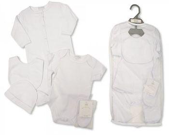 GP1046, Baby 5 Pieces Gift Set - Plain White (Sleepsuit, Short Sleeved Bodyvest, Bib, Hat, Mittens) £6.25.  PK6..