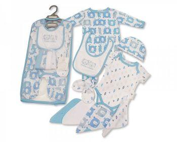 GP1059S, Baby Boys 9 Pcs Gift Set - I Love Cuddles (Sleepsuit, Short Sleeved Bodyvest, Bib, Hat, Mitts, 4 Wash Cloths) £7.95.  pk6..
