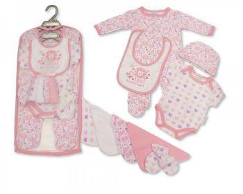 GP1059P, Baby Girls 9 Pcs Gift Set - Sweet Heart (Sleepsuit, Short Sleeved Bodyvest, Bib, Hat, Mitts, 4 Wash Cloths) £7.95.  pk6..