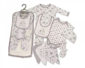 GP1059G, Baby 9 Pcs Gift Set -Best Friends (Sleepsuit, Short Sleeved Bodyvest, Bib, Hat, Mitts, 4 Wash Cloths) £7.95.  pk6..