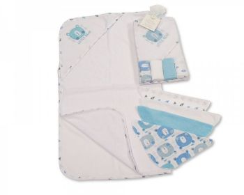 GP1058S, Baby Hooded Towel and Wash Cloth Set - Sky (1 Hooded Towel, 4 Wash Cloths) £3.75.  6PKS...