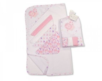 GP1058P, Baby Hooded Towel and Wash Cloth Set - Pink (1 Hooded Towel, 4 Wash Cloths) £3.75.  6PKS...