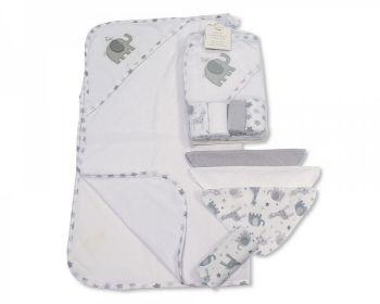 GP1058G, Baby Hooded Towel and Wash Cloth Set - Grey (1 Hooded Towel, 4 Wash Cloths) £3.75.  6PKS...