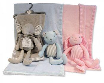 GP1086, Baby Blanket with Plush Toy - Teddy, Bunny, Elephant £5.50.  PK6..