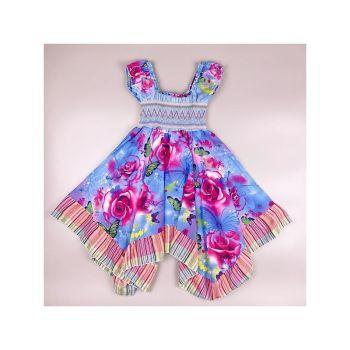 Code:665PURPLE, Girls Handkerchief Dress With Butterfly/Rose Print £6.95.  pk7...