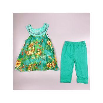 F02GREEN, Girls Floral Tunic & Crop Legging Set £5.95.  pk6....