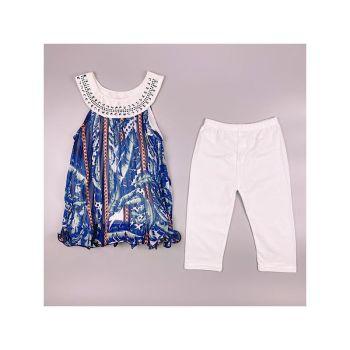 F15WHITE, Girls Feather Print Tunic & Crop Legging Set £5.50.  pk6....