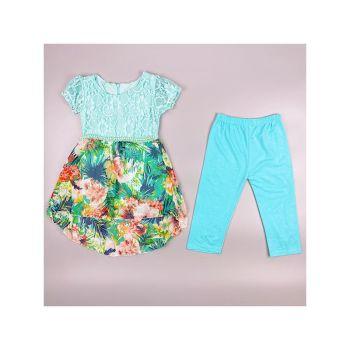 F11SEAGREEN, Girls Tropical Floral Dress & Crop Legging Set £5.95.  pk6....