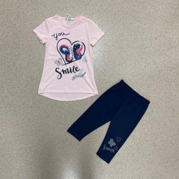 K237LPINK, Girls Sequin Butterfly Heart Top & Legging Set £6.95.  pk5...