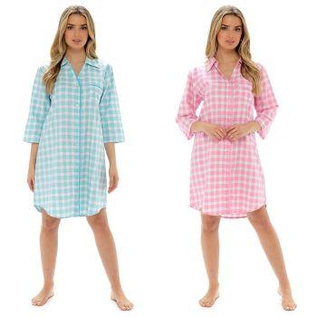 *LN1300, Ladies Woven Check Boyfriend Shirt Nightie £5.90.  pk6...