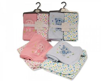BW1040, Baby Cotton Receiving Wraps 2 in a Pack - Teddy/Spots £8.20.  2pks...