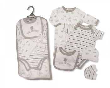 GP1079, Baby 5 Pieces Gift Set -Small and Royal  (Sleepsuit, Short Sleeved Bodyvest, Bib, Hat, Mittens) £6.50.  PK6..