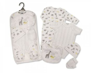 GP1078, Baby 5 Pieces Gift Set -Hello  (Sleepsuit, Short Sleeved Bodyvest, Bib, Hat, Mittens) £6.50.  PK6..