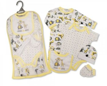 GP1077, Baby 5 Pieces Gift Set -Curious and Brave (Sleepsuit, Short Sleeved Bodyvest, Bib, Hat, Mittens) £6.50.  PK6..
