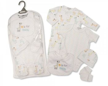 GP1076, Baby Boys 5 Pieces Gift Set -B is for Baby (Sleepsuit, Short Sleeved Bodyvest, Bib, Hat, Mittens) £6.50.  PK6..