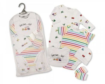 GP1075, Baby Boys 5 Pieces Gift Set -Get Set ... Go (Sleepsuit, Short Sleeved Bodyvest, Bib, Hat, Mittens) £6.50.  PK6..
