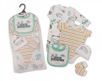 GP1074, Baby Boys 5 Pieces Gift Set -the Adventure Begins (Sleepsuit, Short Sleeved Bodyvest, Bib, Hat, Mittens) £6.50.  PK6..