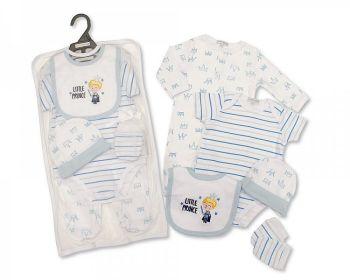 GP1072, Baby Boys 5 Pieces Gift Set -Little Prince (Sleepsuit, Short Sleeved Bodyvest, Bib, Hat, Mittens) £6.50.  PK6..