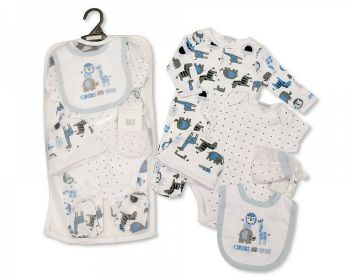 GP1071, Baby Boys 5 Pieces Gift Set -Curious and Brave (Sleepsuit, Short Sleeved Bodyvest, Bib, Hat, Mittens) £6.50.  PK6..