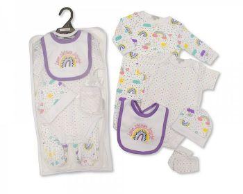 GP1070, Baby Girls 5 Pieces Gift Set -Love Shines Bright (Sleepsuit, Short Sleeved Bodyvest, Bib, Hat, Mittens) £6.50.  PK6..