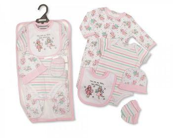 GP1069, Baby Girls 5 Pieces Gift Set -Fairy Best Friend (Sleepsuit, Short Sleeved Bodyvest, Bib, Hat, Mittens) £6.50.  PK6..