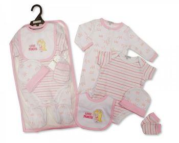 GP1067, Baby Girls 5 Pieces Gift Set -Little Princess (Sleepsuit, Short Sleeved Bodyvest, Bib, Hat, Mittens) £6.50.  PK6..