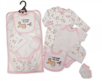 GP1066, Baby Girls 5 Pieces Gift Set -I Will Change the World (Sleepsuit, Short Sleeved Bodyvest, Bib, Hat, Mittens) £6.50.  PK6..