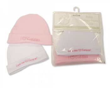 PB553P, Premature Baby Girls 2 in a Pack Hats £1.80.  6pks...