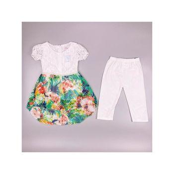 F11WHITE, Girls Tropical Floral Tunic & Crop Legging Set £6.95.  pk6....