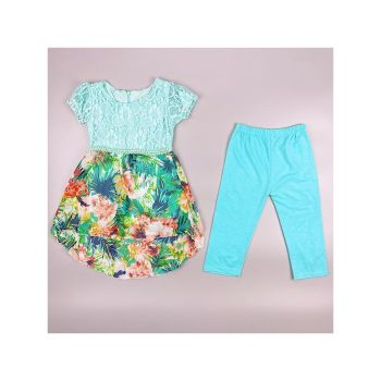 F11L/BLUE, Girls Tropical Floral Tunic & Crop Legging Set £6.95.  pk6....