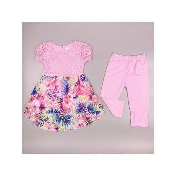 F11PINK, Girls Tropical Floral Tunic & Crop Legging Set £6.95.  pk6....