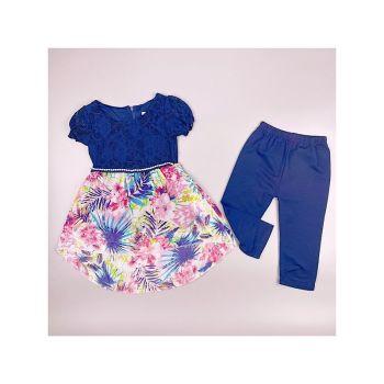 F11NAVY, Girls Tropical Floral Tunic & Crop Legging Set £6.95.  pk6....