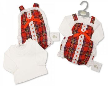 BIS2408, Baby Tartan 2 Pieces Romper Set with Lace and Bow £13.45.  PK6...