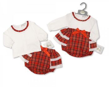 BIS2407, Baby Tartan 2 Pieces Frill Pant Set with Lace and Bow £9.15.   PK6..