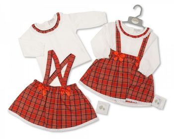 BIS2406, Baby Tartan 2 Pieces Skirt Set with Lace and Bows £9.20.  PK6...
