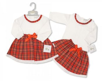 BIS2405, Baby Tartan 2 Pieces Skirt Set with Lace and Bow £9.00.   PK6..