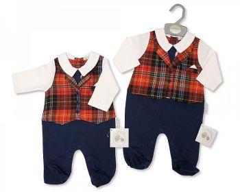 BIS2400, Baby Tartan Waistcoat All in One £9.15.  PK6..