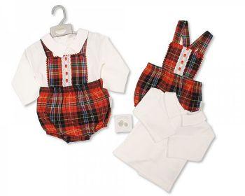 BIS2397, Baby Tartan 2 Pieces Lace Dungaree Set £13.45.  PK6..
