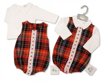 BIS2395, Baby Tartan 2 Pieces Lace Romper Set £13.20.  PK6...