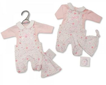 PB366, Premature Baby Girls 2 Pieces Dungaree Set with Bow and Hat - Hearts £6.05.  PK6..