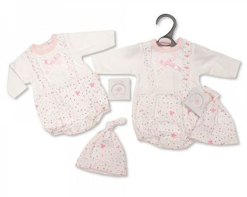 PB364, Premature Baby Girls Romper with Bow and Hat - Hearts £5.50.  PK6...
