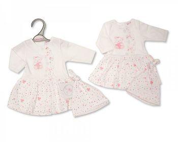 PB362, Premature Baby Girls Dress with Hat - Hearts £5.50.  PK6...